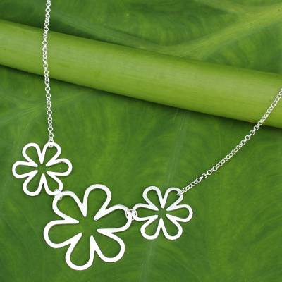 Sterling silver pendant necklace, 'Flower Power' - Fair Trade Sterling Silver Pendant Necklace