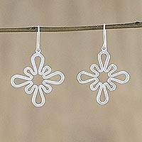 Sterling silver dangle earrings, 'Winter Blossom' - Sterling silver dangle earrings