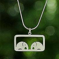 Sterling silver pendant necklace, 'Elephant Lovers' - Sterling Silver Pendant Necklace