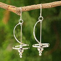 Sterling silver dangle earrings, 'Pirouette' - Modern Sterling Silver Earrings from Thailand
