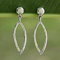 Sterling silver dangle earrings, 'Hollow Leaf' - Handcrafted Sterling Silver Dangle Earrings