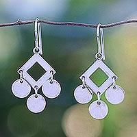 Sterling silver chandelier earrings, 'Joyous Sound' - Fair Trade Sterling Silver Chandelier Earrings