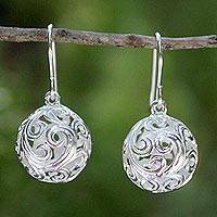 Sterling silver dangle earrings, 'Arabesque' - Handcrafted Sterling Silver Dangle Earrings