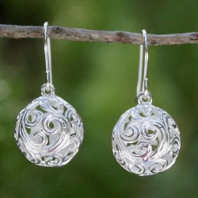 Sterling silver dangle earrings, 'Arabesque' - Handcrafted Sterling Silver Dangle Earrings