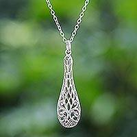 Sterling silver pendant necklace, 'Thai Lace'