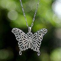Sterling silver pendant necklace, 'Butterfly Beauty'