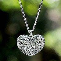 Sterling silver heart necklace, 'Precious Love' - Handcrafted Floral Sterling Silver Pendant Necklace