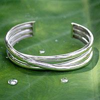 Sterling silver cuff bracelet, 'Trio'