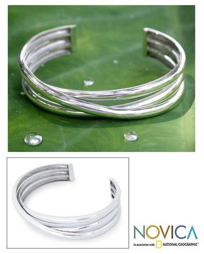 Sterling silver cuff bracelet, 'Trio' - Sterling Silver Cuff Bracelet