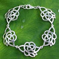 Sterling silver flower bracelet, 'Roses in Love' - Hand Made Floral Sterling Silver Link Bracelet