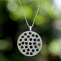 Sterling silver pendant necklace, 'Playful Chic' - Sterling silver pendant necklace