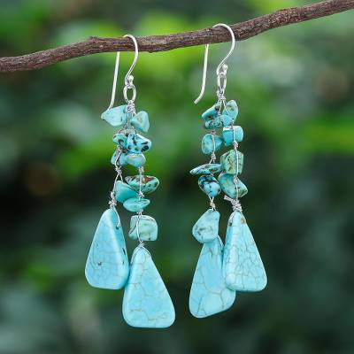 Beaded waterfall earrings, 'Falling Rain' - Unique Turquoise Colored Waterfall Earrings