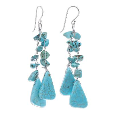 Unique Turquoise Colored Waterfall Earrings