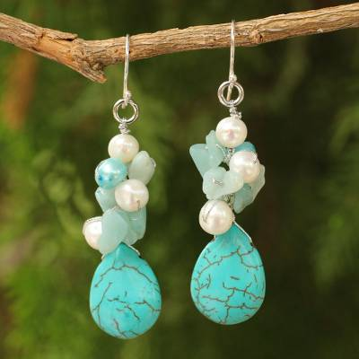 Pearl cluster earrings, 'Bluebells' - Handcrafted Turquoise coloured Dangle Earrings
