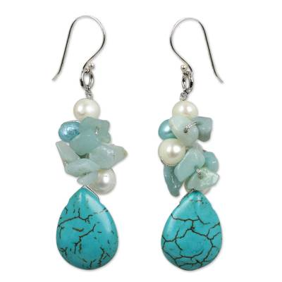 Pearl cluster earrings, 'Bluebells' - Handcrafted Turquoise Colored Dangle Earrings