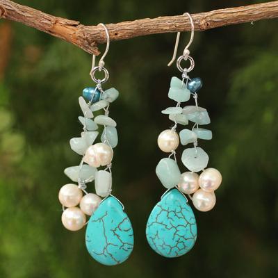 Pearl waterfall earrings, 'Azure Allure' - Handcrafted Pearl and Amazonite Waterfall Earrings