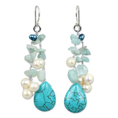 Handcrafted Pearl and Amazonite Waterfall Earrings