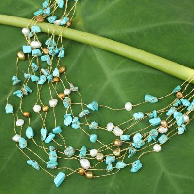 Pearl strand necklace, 'Cool Shower' - Beaded Turquoise coloured Necklace