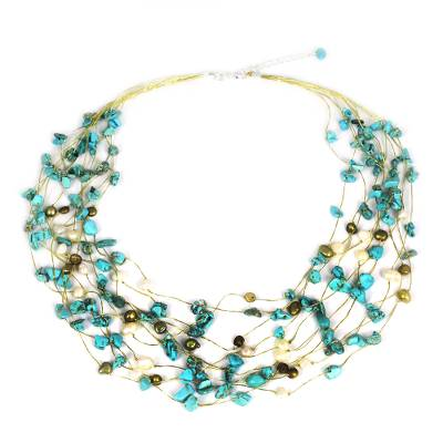 Pearl strand necklace, 'Cool Shower' - Beaded Turquoise Colored Necklace