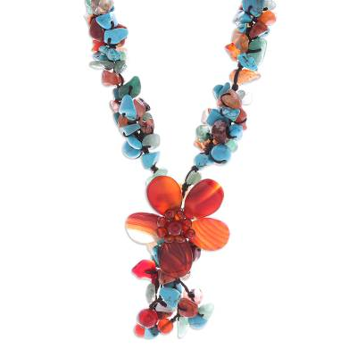 Unique Agate and Carnelian Y Flower Necklace