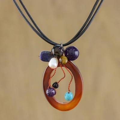 Leather and agate pendant necklace, 'Lush Cosmos' - Handcrafted Agate Necklace
