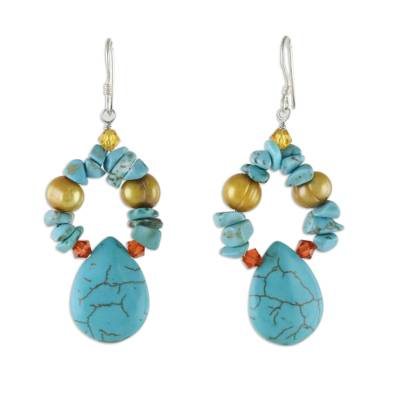 Beaded Turquoise Colored Dangle Earrings