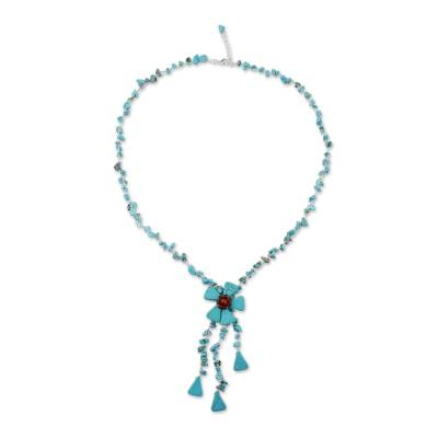 Hand Crafted Floral Turquoise Colored Necklace