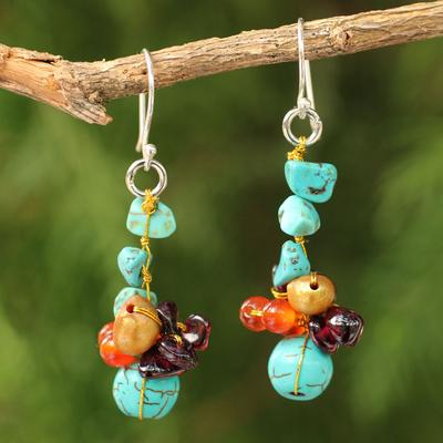 Cultured pearl and garnet cluster earrings, 'Dawn Sky' - Hand Crafted Beaded Multigem Earrings