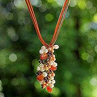 Pearl and carnelian pendant necklace, 'Fascination' - Carnelian and Pearl Necklace