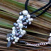Pearl and smoky quartz pendant necklace, 'Fascination' - Pearl Necklace from Thailand