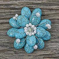 Pearl brooch pin, 'Blue Azalea'