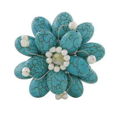 Floral Turquoise Colored Brooch Pin