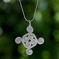 Sterling silver pendant necklace, 'Thai Swirl' - Sterling silver pendant necklace