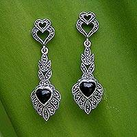 Marcasite and onyx heart earrings, 'Ornate Love' - Artisan Crafted Marcasite and Onyx Heart Earrings