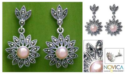 Marcasite and pearl flower earrings, 'Chiang Rai Rose' - Handmade Marcasite and Pearl Flower Earrings