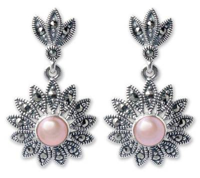 Marcasite and pearl flower earrings, 'Chiang Rai Rose' - Handmade Marcasite and Pearl Flower Earrings