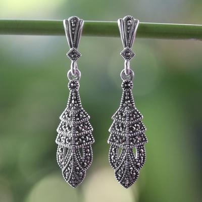 Marcasite dangle earrings, 'Thai Glamour' - Marcasite and Sterling Silver Dangle Earrings
