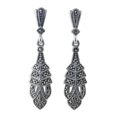 Marcasite dangle earrings, 'Thai Glamour' - Marcasite and Sterling Silver Dangle Earrings