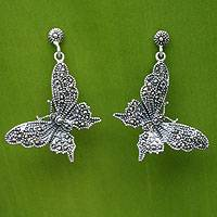 Marcasite dangle earrings, 'Butterfly Realm' - Marcasite and Sterling Silver Earrings