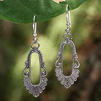 Sterling silver dangle earrings, 'Good Fortune'