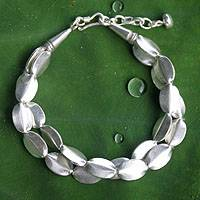 Silver beaded bracelet, 'Thai Autumn' - .950 Sterling Silver Bracelet