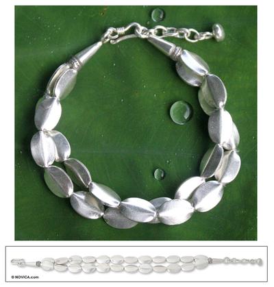 Silver beaded bracelet, 'Thai Autumn' - Silver Beaded Bracelet