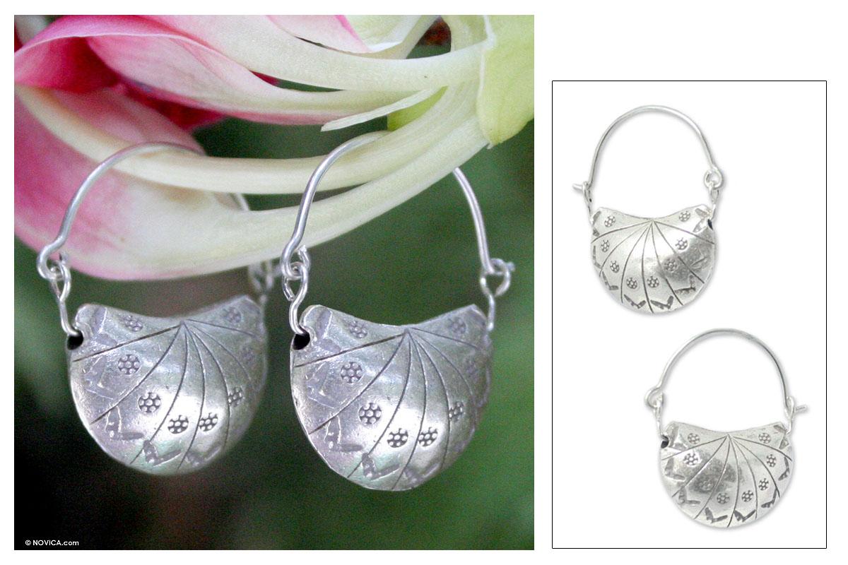 Unicef Uk Market Silver Half Hoop Earrings Ladybug Charm