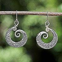 Silver half floral earrings, 'Dew Kissed' - Silver Dangle Earrings