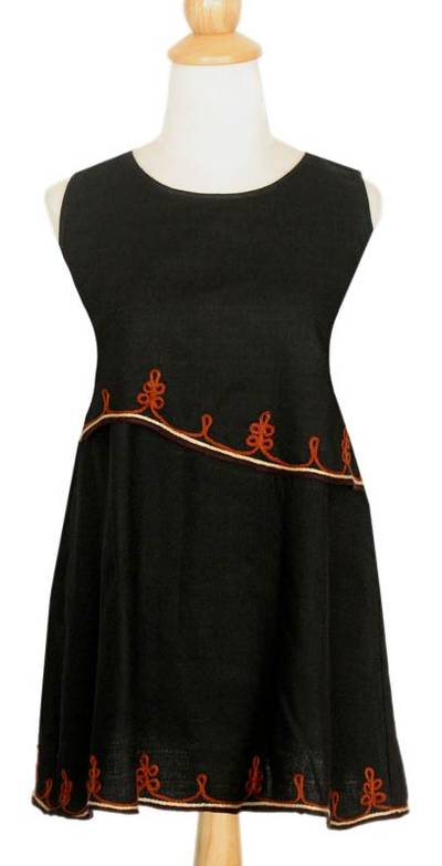 Cotton blouse, 'Layers in Black' - Embroidered Cotton Sleeveless Blouse