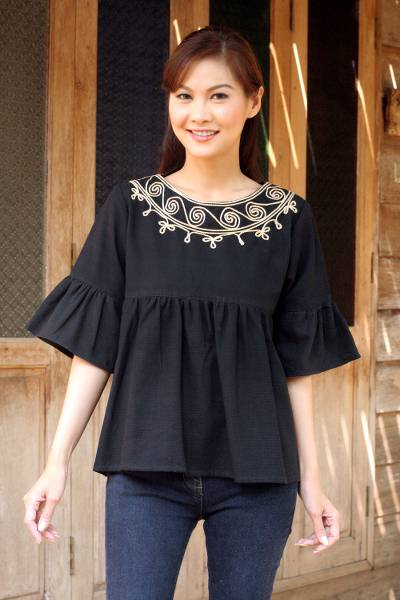 Cotton blouse, 'Licorice Chic' - Embroidered Black Cotton Blouse