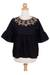 Cotton blouse, 'Licorice Chic' - Embroidered Black Cotton Blouse (image 2c) thumbail
