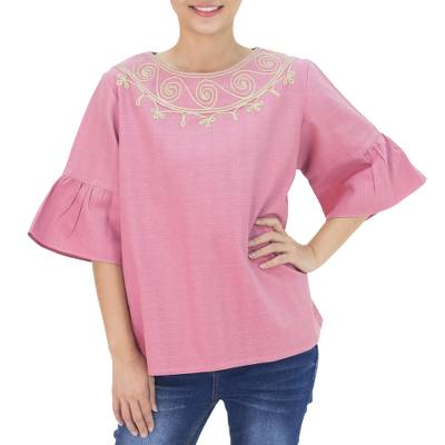 Cotton blouse, 'Pink Sugar Chic' - Hand Made Cotton Blouse