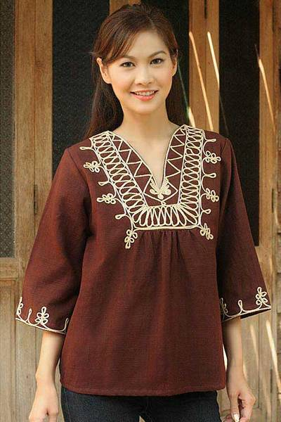 Cotton blouse, 'Earth Dance' - Fair Trade Embroidered Brown Blouse