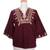 Cotton blouse, 'Earth Dance' - Fair Trade Embroidered Brown Blouse (image 2c) thumbail